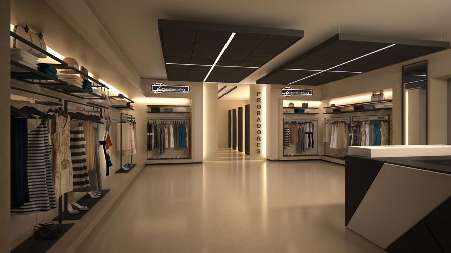 Interior de local comercial de diseño. Stradivarius