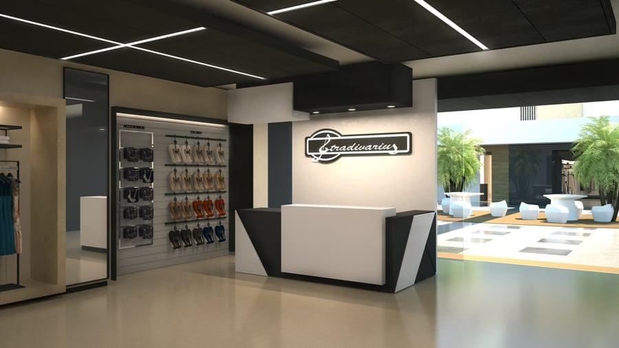 Dise o de tienda de ropa para la firma stradivarius for Disenos de interiores para negocios