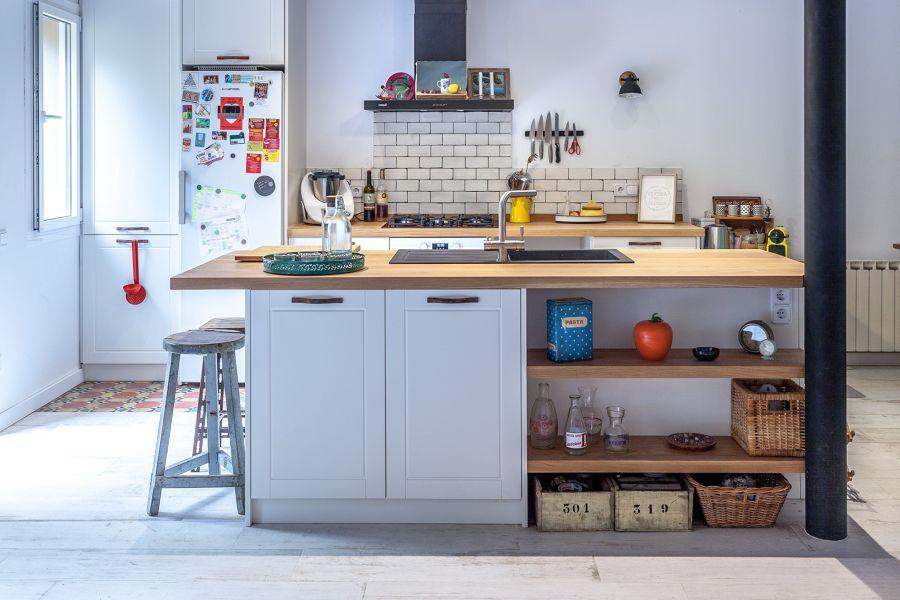 Isla de cocina con fregadero incorporado