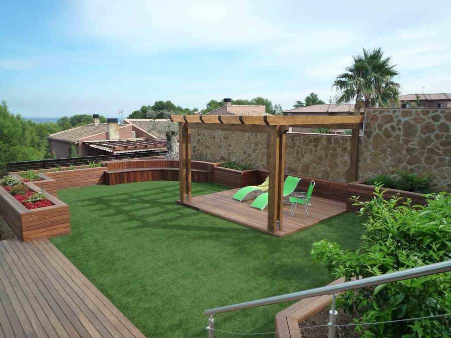 Jardin césped artificial