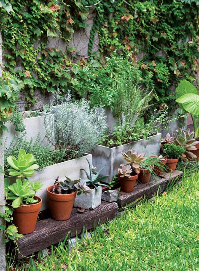 Foto jard n con macetas de hormig n 1480871 habitissimo - Jardin con macetas ...