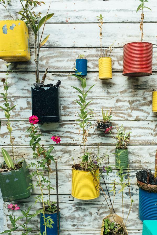 Jardín vertical reciclaje