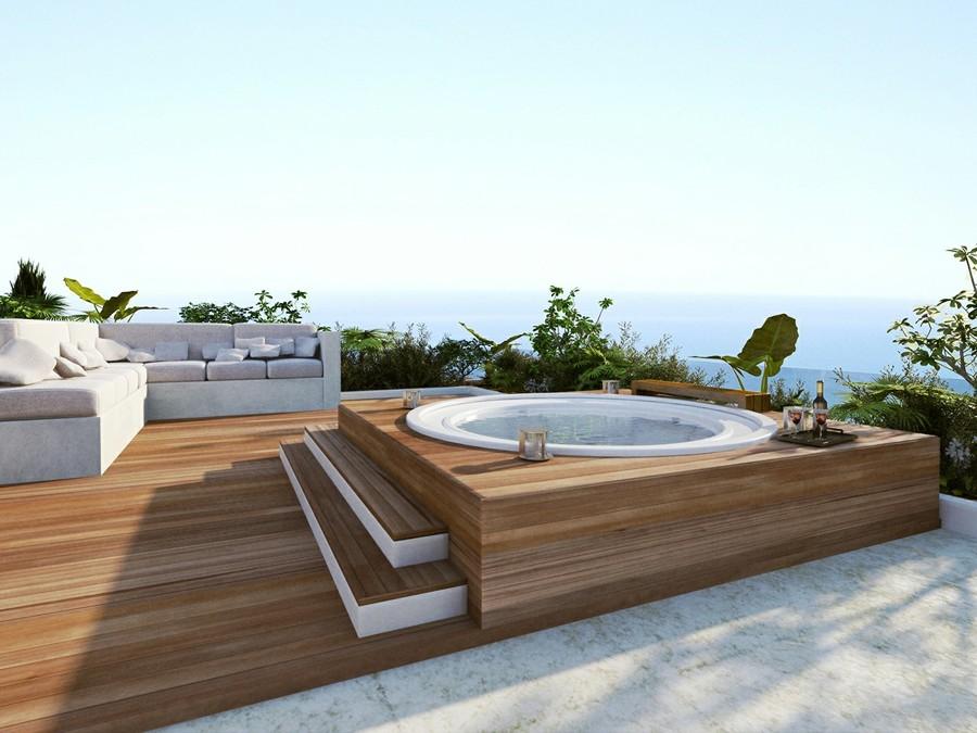 Tipos De Jacuzzis Para Disfrutar De Un Momento Solo Para Ti Ideas - Jacuzzi-exterior-terraza