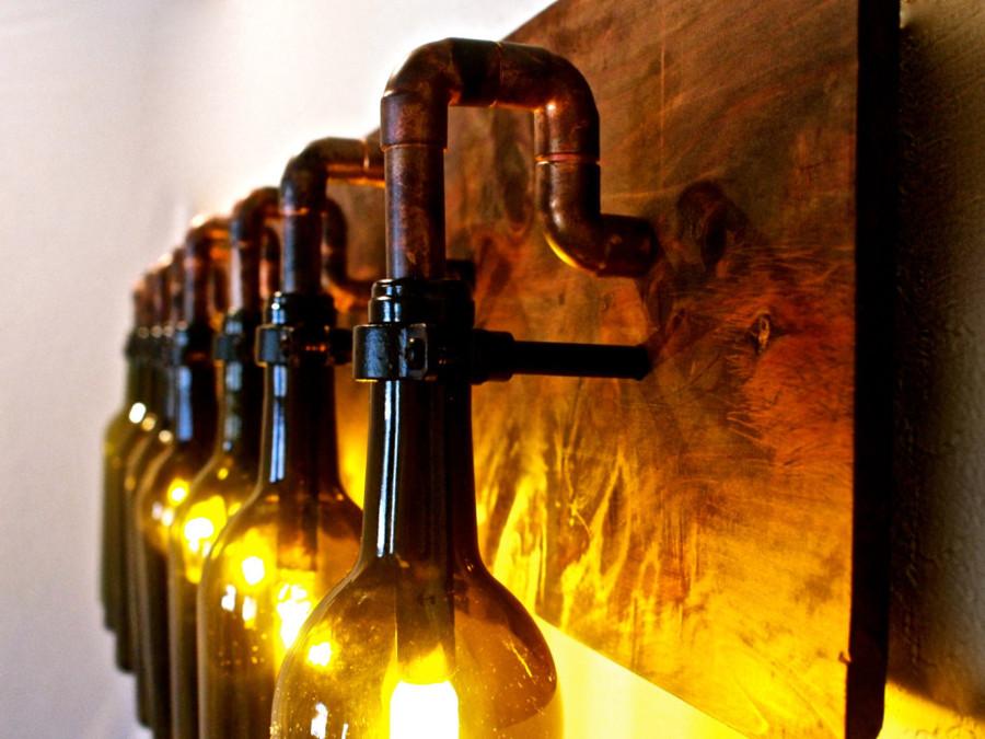 Reutiliza tus botellas de cristal y crea espacios nicos - Lamparas hechas con botellas ...