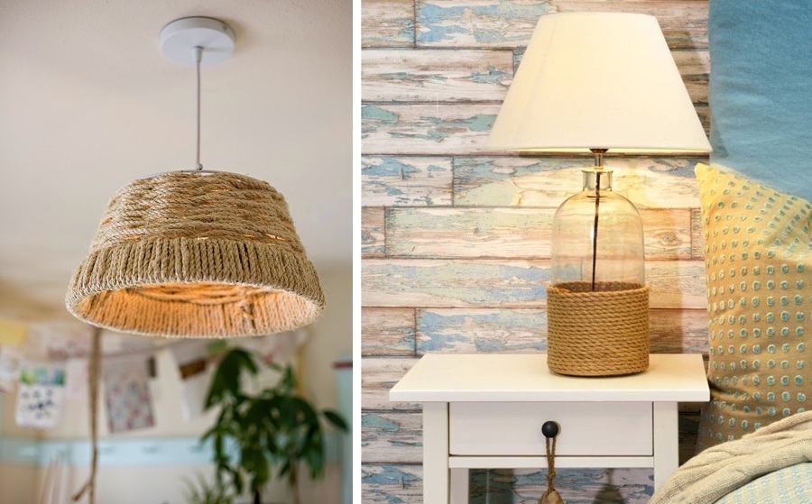 Bonitas manualidades hechas con cuerdas y poco dinero - Como hacer una lampara de pie ...
