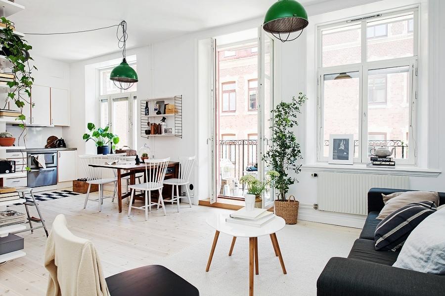 Foto l mparas verdes en sal n de boho chic 841229 - Salones estilo escandinavo ...