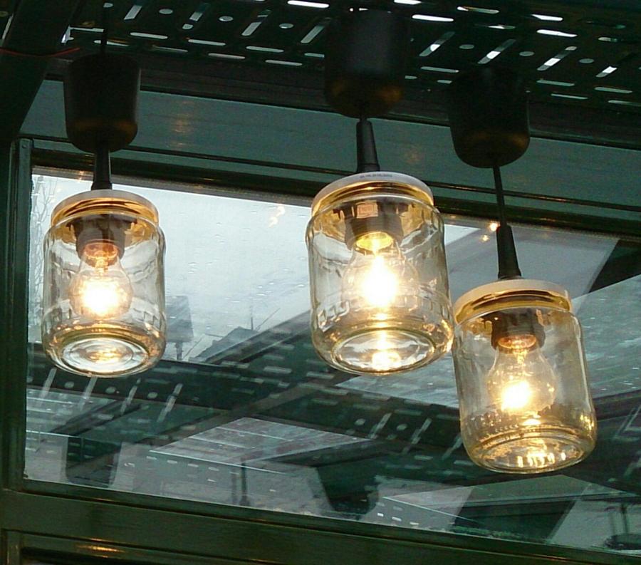 lamparas con tarros de cristal