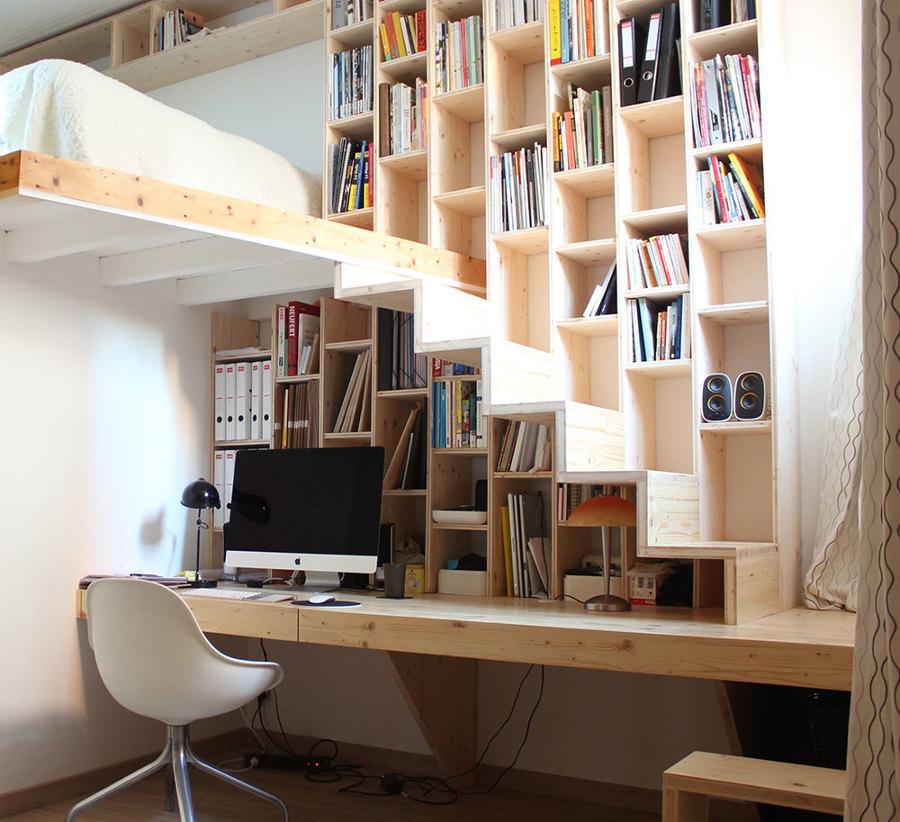 libreria con escritorio y escalera incorporada