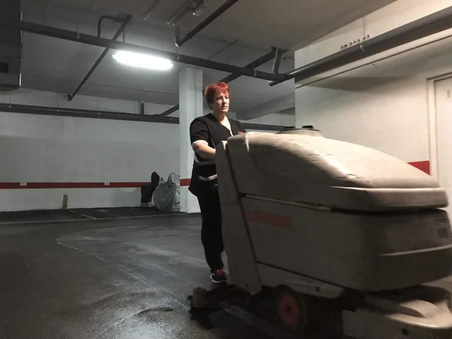 Limpieza con fregadora