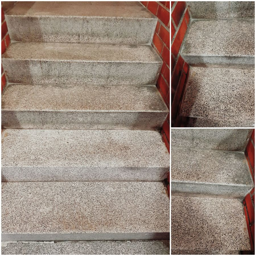 Limpieza de escalera,sólo los 2 peldaños bajos
