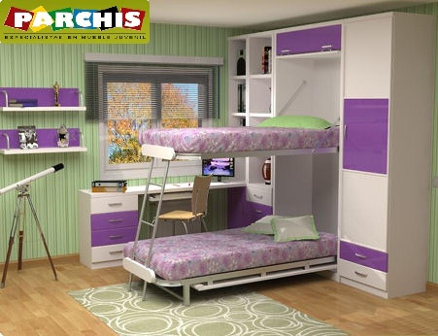 Habitacion juvenil dos camas good habitacin infantil con - Habitacion juvenil cama abatible ...