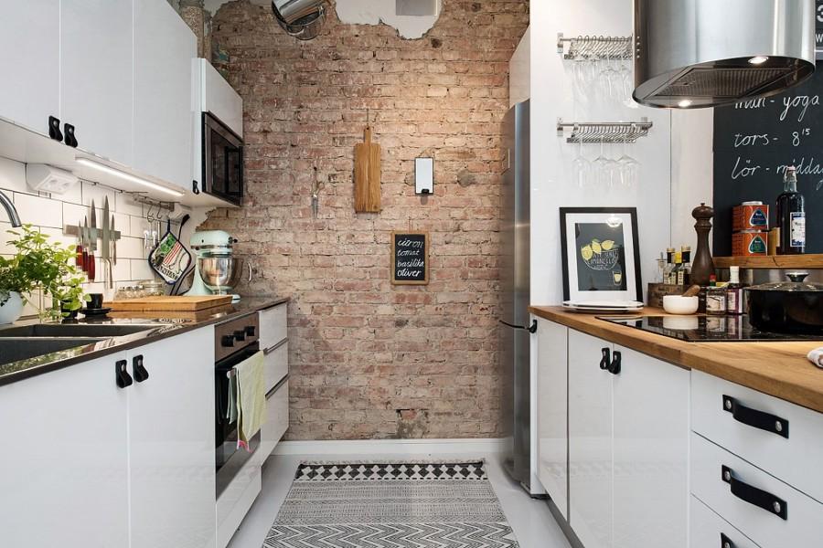 Foto loft cocina pared ladrillo visto de boho chic - Pared de ladrillo visto ...