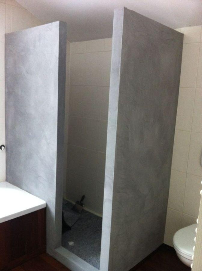 Microcemento sobre chimenea y mampara de ducha ideas - Ideas mamparas de ducha ...