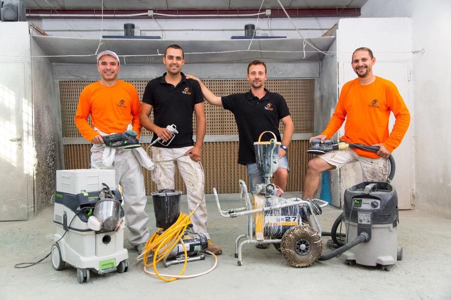 Maquinaria para el lacado en obra