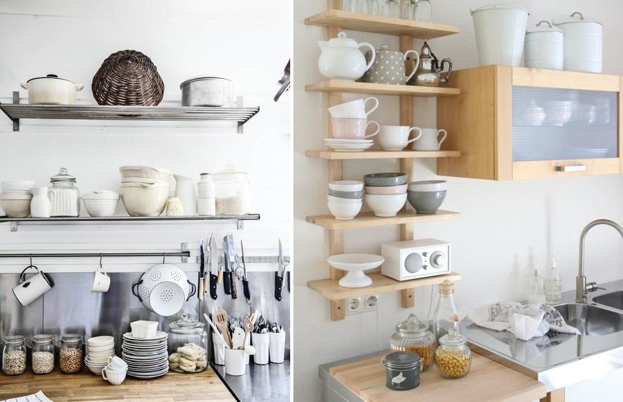 menaje cocina estantes abiertos