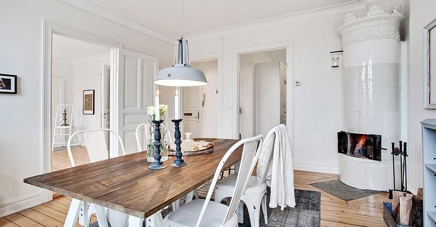 Foto mesa madera y blanco comedor de boho chic 892412 for Mesas de cocina blancas y madera