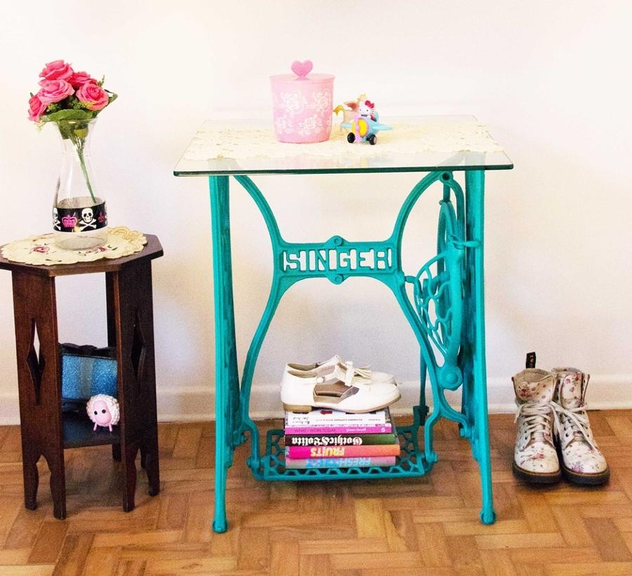 Deja ver tu lado creativo y construye tus propias mesas auxiliares ideas decoradores - Mesa maquina coser singer ...