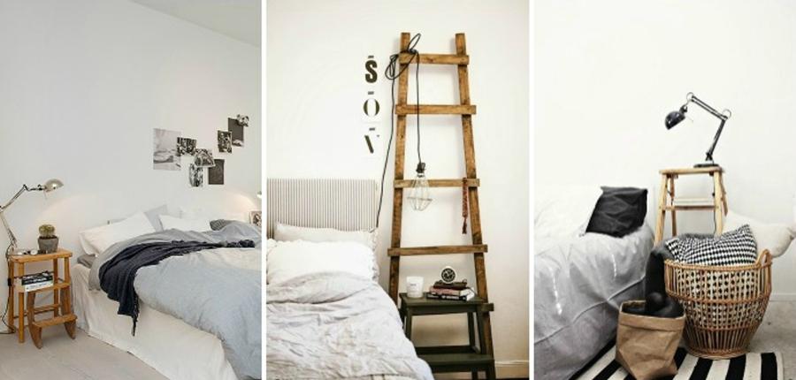 mesas de noche con escaleras de madera