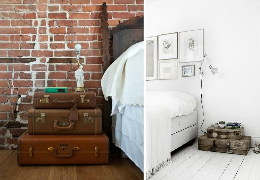 mesas de noche con maletas antiguas
