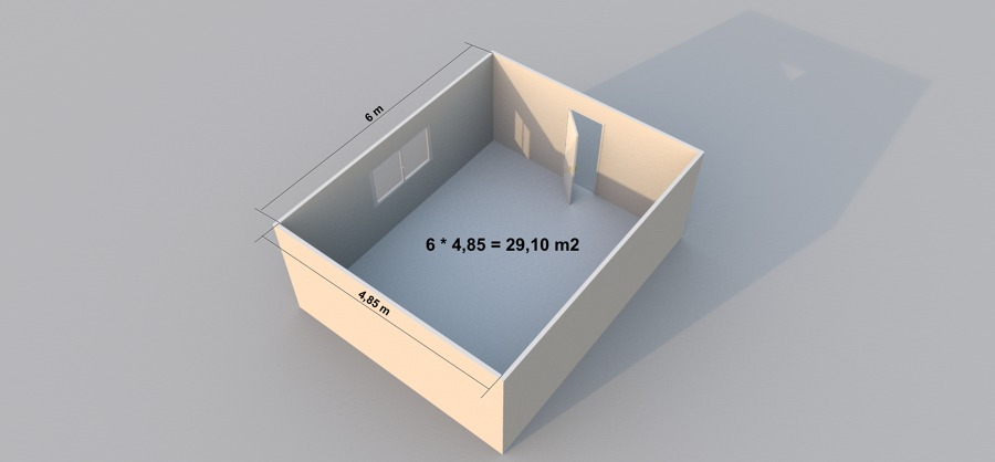 C mo saber cu ntos metros cuadrados tengo de paredes y for Cuarto de 10 metros cuadrados