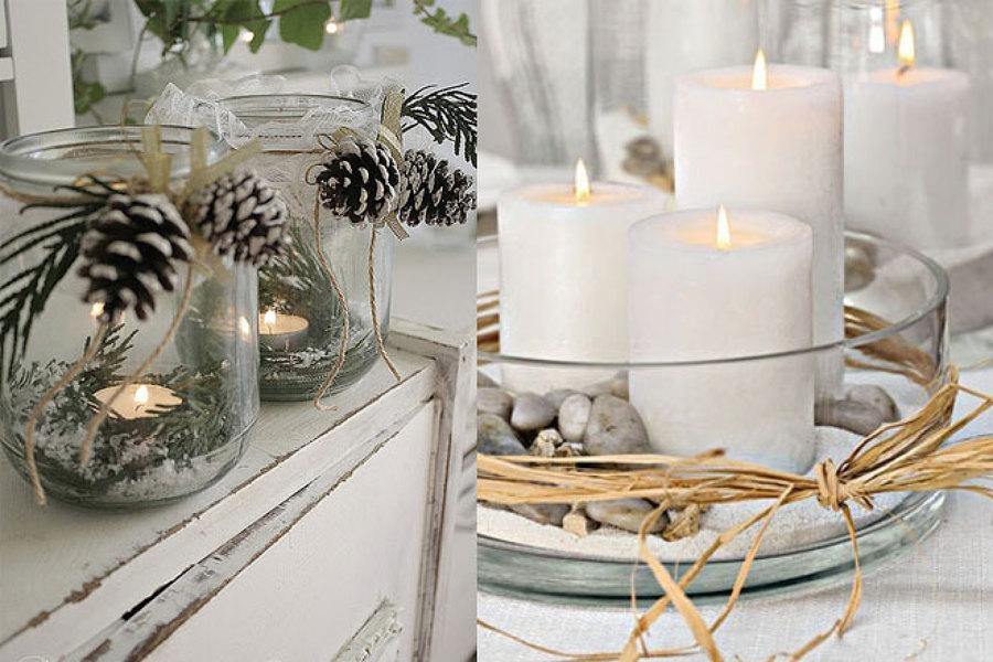 mezcla de tarros pias piedras y velas