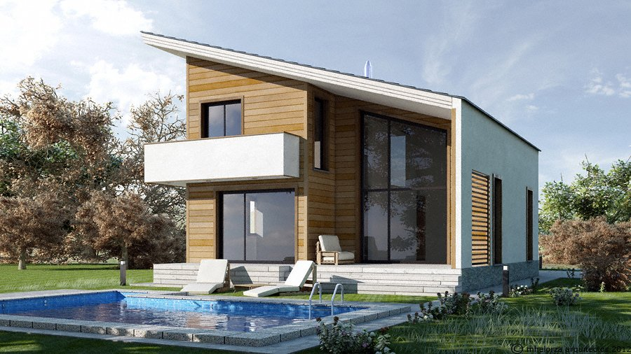 mh140 casa de madera bioclim tica ideas construcci n casas On construccion de casas bioclimaticas
