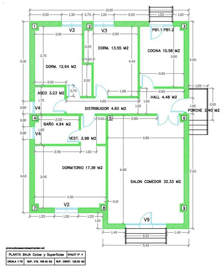 Modelo chalet nº 4 - Plano planta baja Cotas y superfices