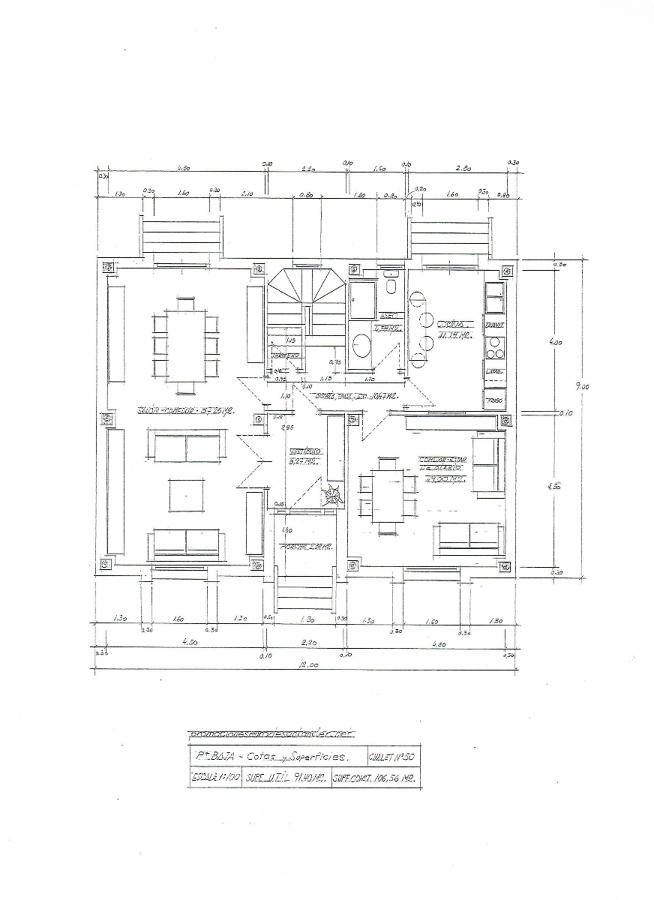 Modelo chalet nº 50 - Plano planta baja Cotas y Superficies