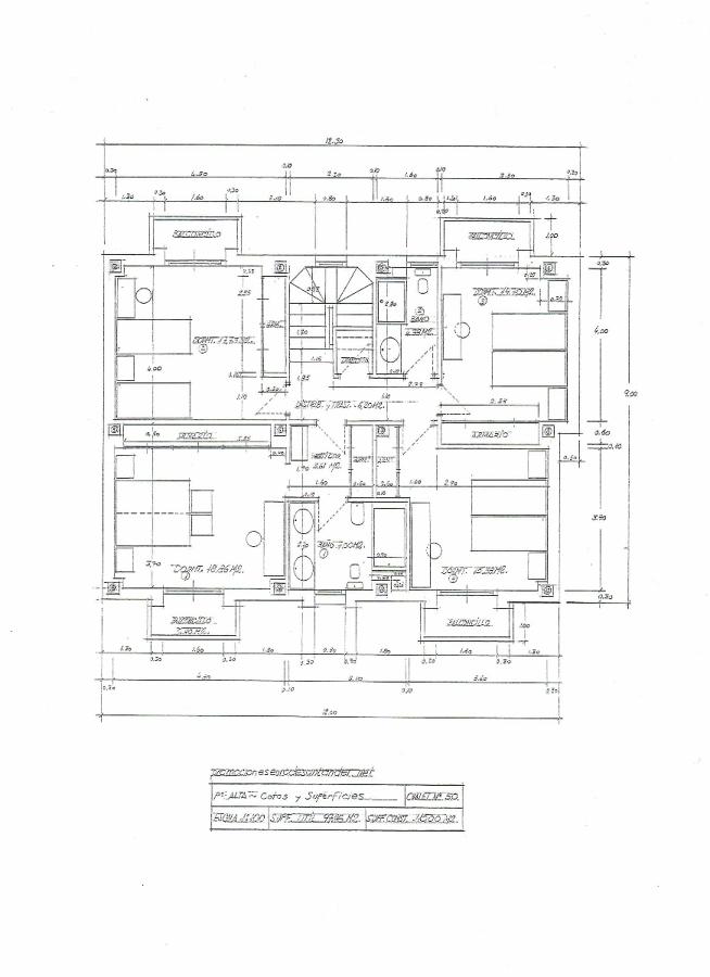 Modelo chalet nº 50 - Plano planta primera Cotas y Superficies