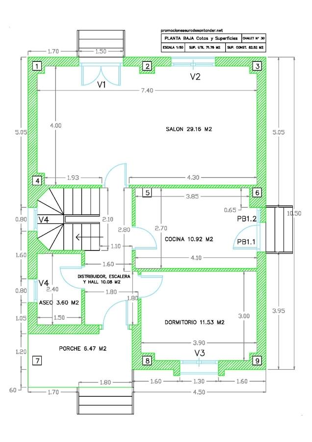 Modelo de chalet nº 30 - Plano planta baja Cotas y Superficies