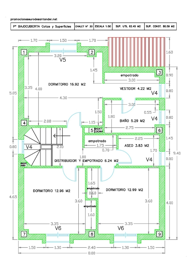 Foto modelo de chalet n 30 plano planta primera cotas - Plano de chalet ...