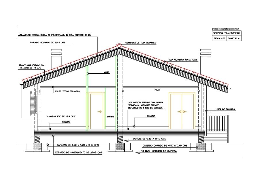 Modelo de chalet nº 4 - Plano Sección A - B