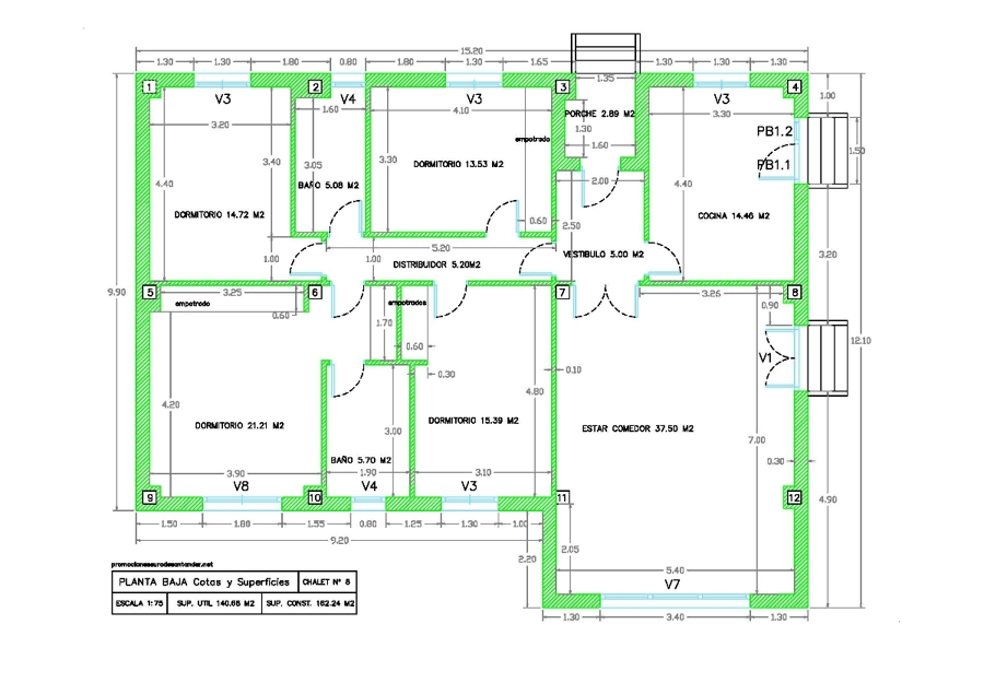 Foto modelo de chalet n 8 plano planta baja cotas y for Modelos de chalets de una planta