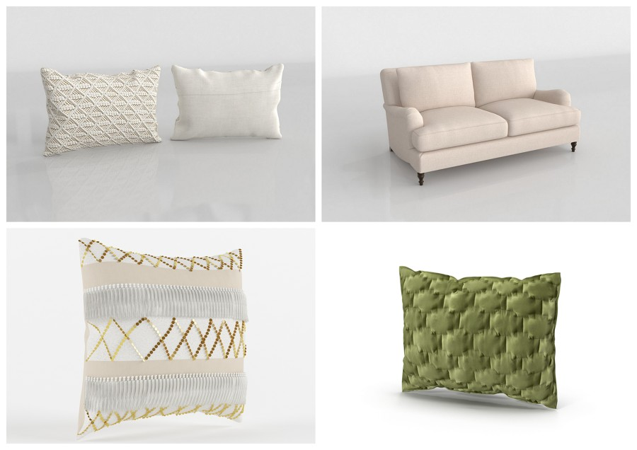 Modelos 3D - sofá y cojines