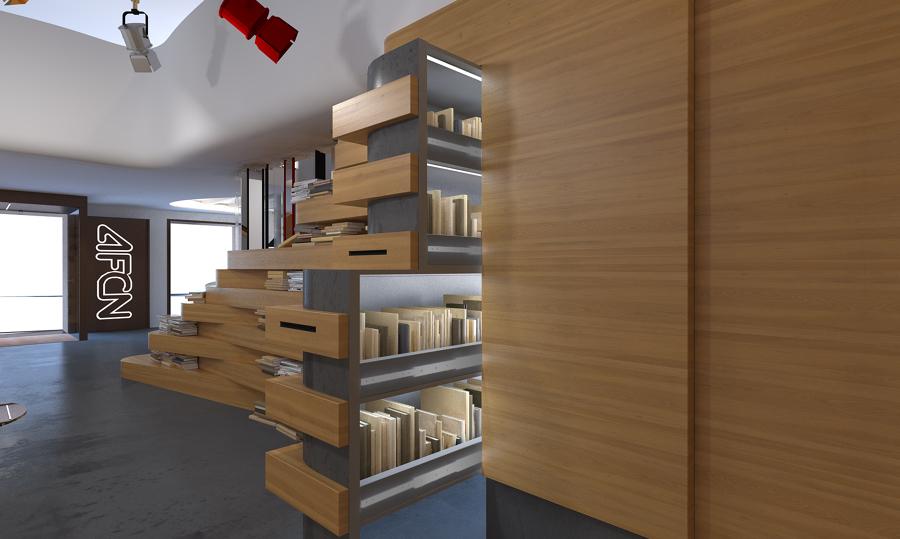 mdulo extrable biblioteca escaleras