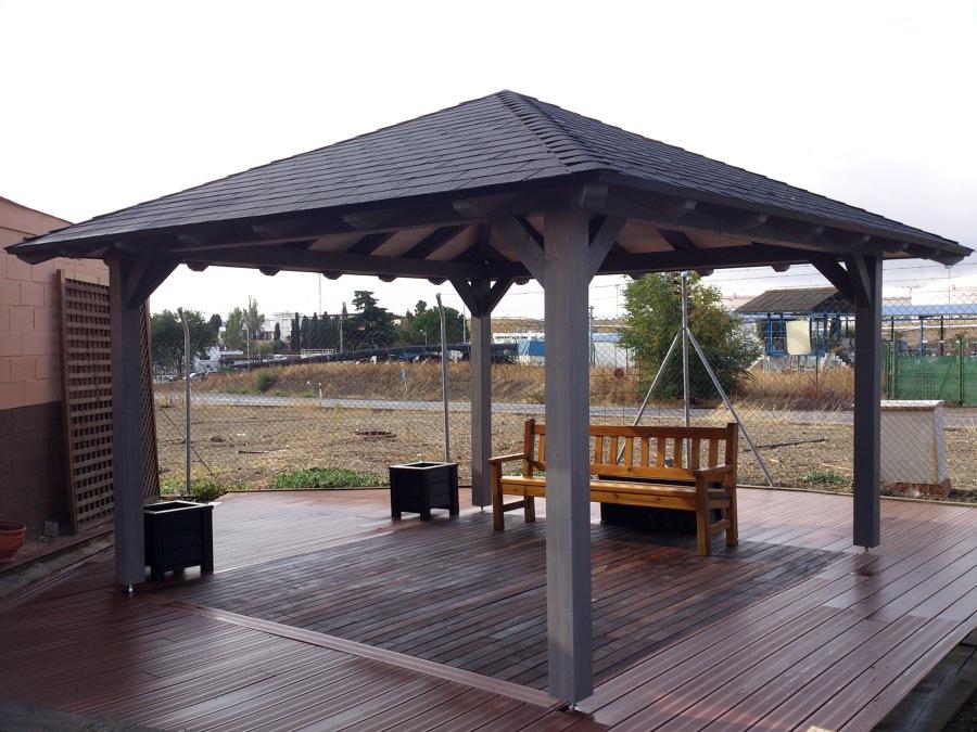 Cenador de madera proyectos construcci n casas for Cenador para jardin