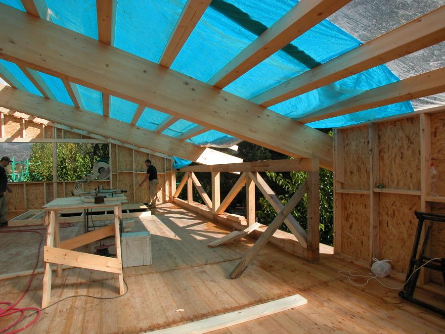 montaje estructura madela laminada de abeto