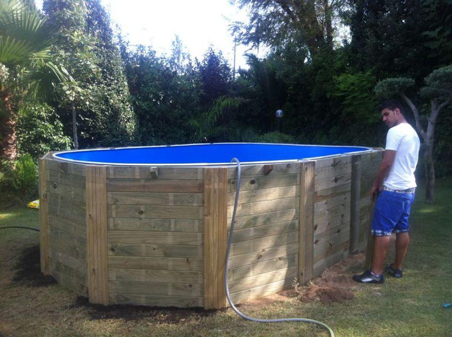 Montaje de piscina elevada de madera en tarragona ideas - Piscinas de montar ...