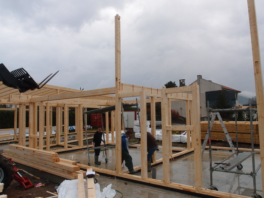 Montando entramado pesado de madera