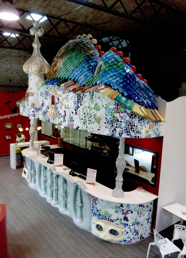 mostrador restaurante modernista