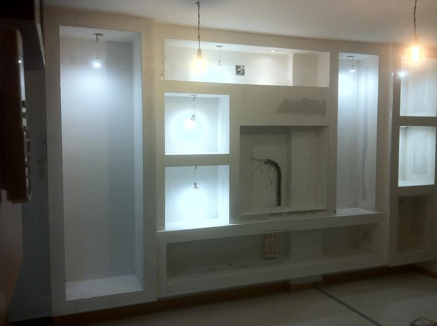 Montaje de mueble de pladur en comedor ideas reformas for Muebles de pladur para salon fotos