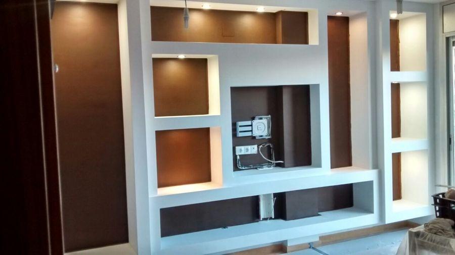 Montaje de mueble de pladur en comedor ideas reformas for Muebles de pladur para salon