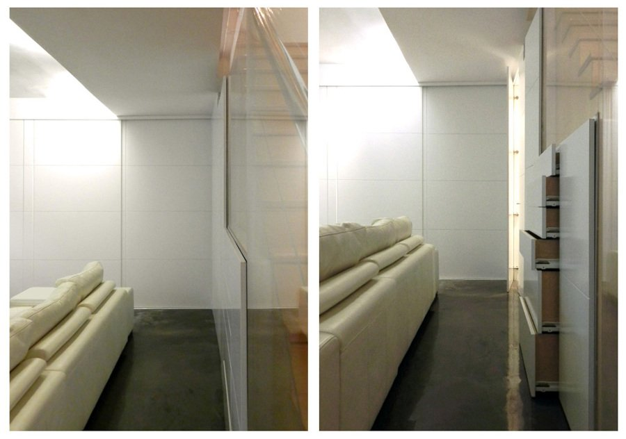 Muebles de sótano abiertos y cerrados