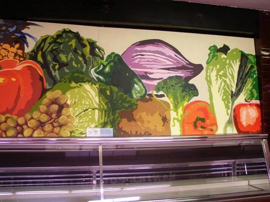 Mural en fruteria de mercado