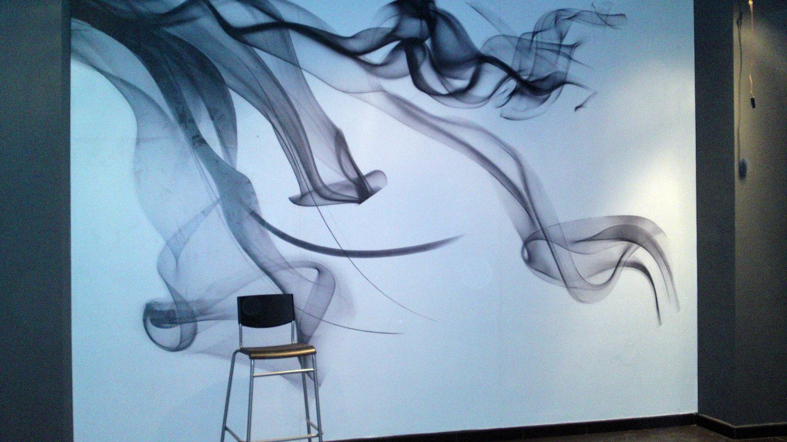 Foto mural personalizado en cafeteria de al rotulacion for Mural pared personalizado