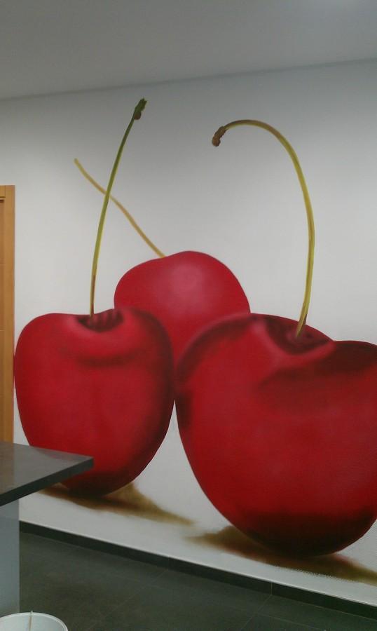 Mural Pintado Cerezas
