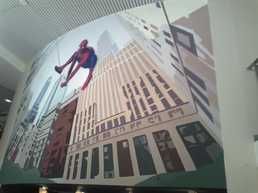 Mural pintado en la sede Sony, Madrid