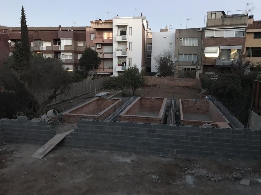 Muros de bloque obra civil piscina