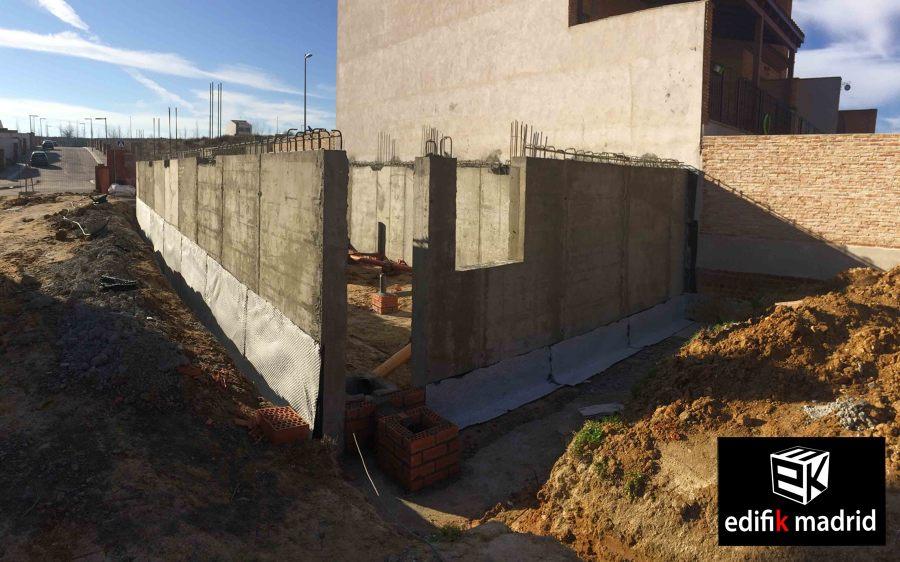 Muros de sótano, construcción vivienda adosada