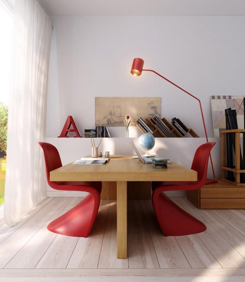 lámpara y sillas rojas